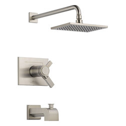 Delta - Delta T17T453-SS Vero TempAssure 17T Series Tub and Shower Trim with Volume Cont - Delta T17T453-SS Vero TempAssure® 17T Series Tub and Shower Trim with Volume Control, Tub Spout and Single Function Showerhead in StainlessIts sleek vessel lavatory and minimalist showerhead are just two reasons the ribbon-inspired Vero Collection is the perfect urban oasis.  Let the shower become your private sanctuary where body sprays and showerheads work in perfect harmony.  Delta faucets with TempAssure® Thermostatic valves monitor the temperature of the water and adjust the mix automatically to maintain precise temperature control and to keep the water temperature in your shower within a safe ±3° F (±1.6° C). You emerge every day refreshed.  All in a room that reflects your personal style.  Offered in chrome and stainless, the Vero Bath Collection comes with a full suite of coordinating accessories, providing a decorative look throughout the bath.Delta T17T453-SS Vero TempAssure® 17T Series Tub and Shower Trim with Volume Control, Tub Spout and Single Function Showerhead in Stainless, Features:• Only Delta faucets are equipped with Touch-Clean® soft, rubber nubbins that allow you to easily wipe away calcium and lime build-up with the touch of a finger.