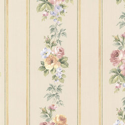 Trailing Roses in Pink and Yellow - CN24640 - Collection:Rose Garden