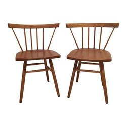 Pre-owned Petite Nakashima Style Chairs - Stylish pair of petite Nakashima style chairs. This minimalist pair of chairs are a little sick and they need to see a chair Doctor to get their joints tightened back up before heavy use. Chair doctors usually charge around $100 a chair for a check up. Worth every penny.