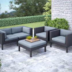 CorLiving - CorLiving Oakland 5-piece Sofa and Chair Patio Set - Bring contemporary style outdoors in this versatile set from CorLiving. Don't worry about leaving this amazing furniture outside,it's made with UV resistant resin rattan wicker,water repllent cushions and a durable steel frame.