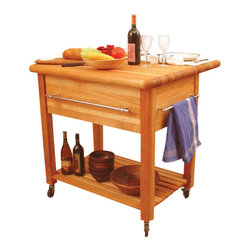 Catskill Craftsmen - Catskill Craftsmen Grand Island Butcher Block Workcenter with Drop Leaf - Catskill Craftsmen - Kitchen Carts - 2005 - Add classic styling and light to your kitchen with the Catskill Craftsmen Grand Workcenter with Drop Leaf. The heavy duty wheels make this unit an easy, mobile addition to your home. So make a genuine gourmet meal with the Grand Workcenter.