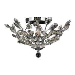 """Worldwide Lighting - Aspen 4 Light Chrome Finish and Crystal 20"""" Round Semi-Flush Mount Ceiling Light - This stunning 4-light ceiling light only uses the best quality material and workmanship ensuring a beautiful heirloom quality piece. Featuring a radiant chrome finish and finely cut premium grade crystals with a lead content of 30%, this elegant ceiling light will give any room sparkle and glamour. Worldwide Lighting Corporation is a privately owned manufacturer of high quality crystal chandeliers, pendants, surface mounts, sconces and custom decorative lighting products for the residential, hospitality and commercial building markets. Our high quality crystals meet all standards of perfection, possessing lead oxide of 30% that is above industry standards and can be seen in prestigious homes, hotels, restaurants, casinos, and churches across the country. Our mission is to enhance your lighting needs with exceptional quality fixtures at a reasonable price."""