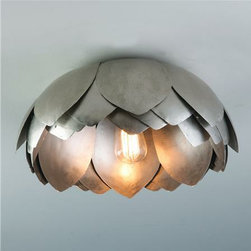 Metal Lotus Flush Mount Ceiling Light - This gorgeous, layered lamp reminds me of those pretty lotus votive holders I've seen all over the Internet. Those may be ubiquitous, but this light will make your room unique.