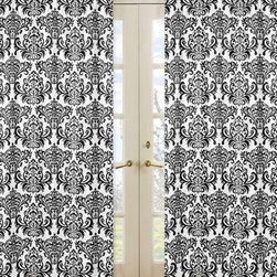 Sweet Jojo Designs - Isabella Black and White Damask Window Panel - Set of 2 by Sweet Jojo Designs - The Isabella Black and White Damask Window Panel - Set of 2 by Sweet Jojo Designs, along with the bedding accessories.
