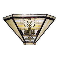 Dale Tiffany - Dale Tiffany 7443/1LTW Oak Park Wall Sconce - Shade: Hand Rolled Art Glass