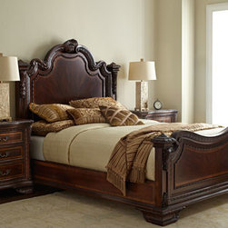 Horchow - Francesca King Bed - Inspired primarily by classic European styles and clearly influenced by the later Renaissance period, which featured enrichment of ornament and outline, this beautifully proportioned bedroom furniture reflects the elaborate details such as sculptural ac...