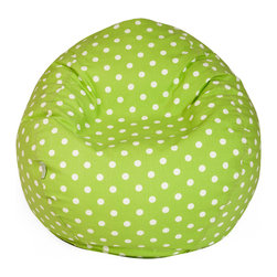 Majestic Home - Indoor Lime Small Polka Dot Small Bean Bag - Dots on the outside, beans on the inside — this groovy classic is perfect for your favorite casual setting. It's sure to become the best seat in the house, but relax! The durable cotton twill slipcover zips of for machine washing.