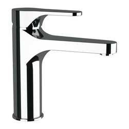 """Remer - 4 Inch Neck Bathroom Faucet Made From Chromed Brass - This basin mixer has a high 4"""" neck and 5"""" spout reach. It is a single-lever mixer finished in polished chrome. This mixer does not include a pop-up waste. It was made in Italy by Italian designer Remer. High basin mixer. Has 4 inch neck. Made from chromed brass. Modern style faucet. Made in Italy."""