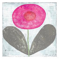 Sugarboo Designs - Happy Flower Art Print 36 x 36 - Happy Flower Vintage Art Print on Wood by Sugarboo Designs