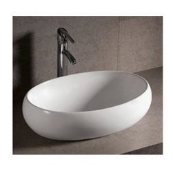 Whitehaus - Isabella Oval Sink in White - Faucet not included. Above mount basin. Center drain. Made from porcelain. Inside: 21.25 in. W x 13.75 in. D x 5 in. H. Overall: 23.25 in. W x 15.75 in. D x 6.25 in. H (30 lbs.). Warranty