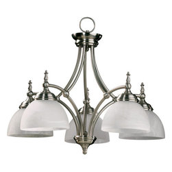 Quorum International - Quorum International Q6435-5 5 Light Down Lighting Chandelier Ashton Co - Ashton NookChoose Ashton's classic style and clean lines for your traditional or modern interior. Substantial half-sphere glass radiates a welcoming light. Ashton has two finish combinations from which to make your choice � authentic Old World with Scavo glass and Beige Fabric shades or clean Satin Nickel with Alabaster glass and White Fabric shades.Bulbs: (5) 60W Medium