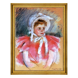 """Mary Cassatt-18""""x24"""" Framed Canvas - 18"""" x 24"""" Mary Cassatt Simone in White Bonnet Seated with Clasped Hands (no.1) framed premium canvas print reproduced to meet museum quality standards. Our museum quality canvas prints are produced using high-precision print technology for a more accurate reproduction printed on high quality canvas with fade-resistant, archival inks. Our progressive business model allows us to offer works of art to you at the best wholesale pricing, significantly less than art gallery prices, affordable to all. This artwork is hand stretched onto wooden stretcher bars, then mounted into our 3"""" wide gold finish frame with black panel by one of our expert framers. Our framed canvas print comes with hardware, ready to hang on your wall.  We present a comprehensive collection of exceptional canvas art reproductions by Mary Cassatt."""