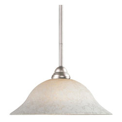 One Light Brushed Nickel White Mottle Glass Down Pendant - This brushed nickel, one light pendant along with its bright, white mottle shade and clean lines will add an element of class to any room.