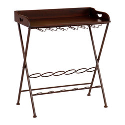 """Holly & Martin - Encinitas Wine Table - Serve up a night of fun and relaxation with this espresso wine table. The storage space and versatility of this table make it an ideal choice for the wine enthusiast and beginner alike. This wine table has a rich espresso finish and a contemporary, tray table design. Glass hanging racks and a bottle rack provide ideal storage for all of your wine and accessories. The table top removes and converts to a portable serving tray for the ultimate in serving convenience. This wine table is a wonderful choice for entertaining guests or everyday use. Add it to the dining room, kitchen, or family room - wherever you choose to unwind. 28.75"""" W x 15.75"""" D x 33.5"""" H."""