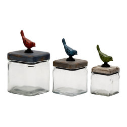 Simply Elegant Glass Wood Canister, Set of 3 - Description: