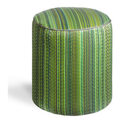Fab Habitat - Cancun - Green Pouf - Playful colors really pop on this striped, eco-chic pouf! With this artisan made, easy to clean pouf in your home, you'll always have a modern seating choice, foot stool, or tiny table on offer. This pouf is handmade from recycled materials, and is available in a variety of vibrant color combinations.