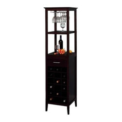 Winsome Wood - Wine Tower - Our classic wine tower stores eighteen bottles of wine in individual drawers, and there is one drawer for accessories storage. There is a hanging rack which holds wine glasses, and two shelves for holding open bottles, full glasses, and plates. It is made up of solid wood.