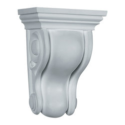 """Ekena Millwork - 4 3/4""""W x 3 1/2""""D x 6 3/4""""H Traditional Curved Corbel - 4 3/4""""W x 3 1/2""""D x 6 3/4""""H Traditional Curved Corbel. These corbels are truly unique in design and function. Primarily used in decorative applications urethane corbels can make a dramatic difference in kitchens, bathrooms, entryways, fireplace surrounds, and more. This material is also perfect for exterior applications. It will not rot or crack, and is impervious to insect manifestations. It comes to you factory primed and ready for your paint, faux finish, gel stain, marbleizing and more. With these corbels, you are only limited by your imagination."""