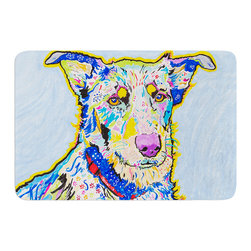 """KESS InHouse - Rebecca Fischer """"Becca"""" Blue Rainbow Memory Foam Bath Mat (17"""" x 24"""") - These super absorbent bath mats will add comfort and style to your bathroom. These memory foam mats will feel like you are in a spa every time you step out of the shower. Available in two sizes, 17"""" x 24"""" and 24"""" x 36"""", with a .5"""" thickness and non skid backing, these will fit every style of bathroom. Add comfort like never before in front of your vanity, sink, bathtub, shower or even laundry room. Machine wash cold, gentle cycle, tumble dry low or lay flat to dry. Printed on single side."""