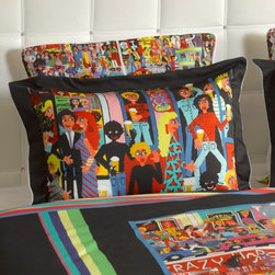 """ARTnBED - Bohemian Duvet Cover Set - """"Hindley street"""" - Action, atmosphere and nightlife - Hindley street is the place where things happen in Adelaide, Australia. There is something for everyone, and it is all here on this dynamic duvet cover with a large digital print of the painting """"Hindley Street"""" by the artist Marie Jonsson-Harrison. Colorful and full of life - Marie paints everything she sees in her vibrant, not-to-be missed style. With this duvet in your bedroom, you'll wake with a smile every morning."""