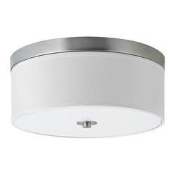 Linea di Liara - Occhio Brushed Nickel 15-Inch Two-Light Ceiling Light Lamp, Flushmount LL-C252 - A clean, contemporary design allows the Occhio Collection to be used in a wide variety of environments – from sleekly modern to warm transitional and even beyond.   The collection is compatible with a number of bulb options, including incandescent (60W max), Compact Fluorescent and LED.