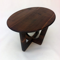 """Pearsall Inspired Oval Solid Walnut Cocktail Coffee Table - A new MCM inspired oval cocktail table. The table top and base are made from solid walnut finished with a blend of danish and tung oil. The dimensions of this oval table are 20""""x 30"""" x 16.75"""" tall but I can make you any custom size. Inspired by the early work of Adrian Pearsall, we have created a new heirloom to last generations."""