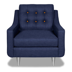 Apt2B.com - Cloverdale Chair Navy Navy/Sweet Potato - This cozy chair is as comfortable as it is sophisticated. With an unexpected pop of color in the button tufting and a nice deep seat it's a perfect place to kick your feet up after a long day!