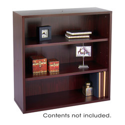 "Safco - Aprs Modular Storage Open Bookcase - Mahogany - Your workspace is always changing, so when it does make sure it changes in style! With Aprs Modular Storage you can change your organization and storage options as you need them. Aprs works great in executive offices, managers offices, reception area, conference room, media center or training room. Use them together or individually to get the perfect amount of storage options. Additionally use pieces separately in lounge areas, home or work office, classroom or library. And if you ever need more storage space easily add another Aprs!; Features: Material: 3/4"" furniture-grade wood; Color: Mahogany; Finished Product Weight: 49 lbs.; Assembly Required: Yes; Tools Required: Yes; Limited Lifetime Warranty; Dimensions: 29 3/4""W x 11 3/4""D x 29 3/4""H"