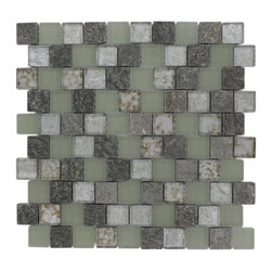 """GlassTileStore - Vestige Spring Valley Marble & Glass Tiles - VESTIGE SPRING VALLEY TILE  This stunning combination of the green slate with the frosted and polished metallic glass will give any room a rustic and contemporary ambience. Add a pop to any room with these beautiful tiles that are versatile; great to use for a backsplash for a kitchen or a fireplace     Chip Size: 1.18"""" x 1.18""""   Color: Green, Spa Green, Metallic Silver/Bronze   Material: Slate & Glass   Finish: Frosted and Polished Glass   Sold by the Sheet - each sheet measures 12.5""""x12.5"""" (1.09sq. ft.)   Thickness: 8mm    - Glass Tile -"""