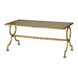 Kathy Kuo Home - Gilbert French Deco Antique Gold Leaf Glass Cocktail Table - A piece of serious elegance, inspired by a pair of tables made by Gilbert Poillerat in the 1940's.  The table has an inset glass top and this size makes a perfect small scaled coffee table.