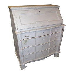 Used Painted Oak French Secretary Desk - This 1950s painted and distressed drop front secretary desk dresser would make a lovely addition to any rustic or shabby chic office or bedroom but have you considered it as a vanity? Why not use all of the lovely drawers for jewelry and other baubles? The top drawer pushes in further than the front of the desk, but that's easily masked by keeping it pulled out a little. That's the only flaw with this vintage beauty!