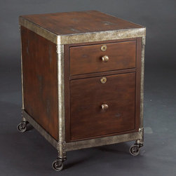 "Hammary - Structure Rolling File Cabinet in Heavily Distressed Brown Finish - ""There is beauty in simplicity. And seldom does furniture possess more effortless beauty than Hammary's new """"Structure"""" collection."