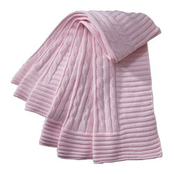 Elegant Baby - Cable Knit Baby Blanket in Pink - Cable Knit Baby Blanket in Pink