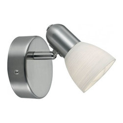 Eglo - Dakar 1 1 Light Wall Sconce - The outstanding design and application variety of Dakar 1s contemporary spot lights, makes them special. Whether its your living room, kitchen, workshop or just to effectively illuminate a special feature, spot lights can be implemented anywhere. Dakar 1 1 Light Wall Sconce in Matte Nickel Finish with Alabaster Glass.