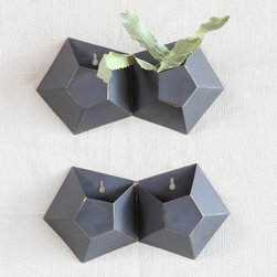 Highland Wall Vase - Double - These pentagonal vases offer a creative option to decorate your walls. Slip in your favorite ferns and flowers to add a contrast of vibrant color to your living space.
