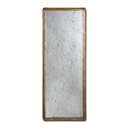 Uttermost - Uttermost Piave Mirror - This stately mirror features a solid mahogany wood frame finished in distressed, antiqued gold leaf accented with a light butterscotch edge. Antiqued mirror is beveled. May be hung either horizontal or vertical.