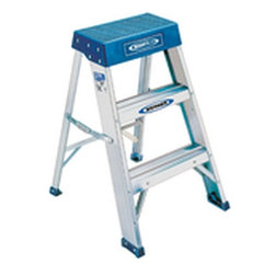 WERNER COMPANY - 150B-2 2 FT. TYPE I ALUM STEP - ALUMINUM STEP STOOL  Type IA duty rating -300 lb. load capacity  Heavy duty/ industrial use  Molded top provides large standing platform  Molded vinyl foot pads riveted to rails  Slip-resistant traction-tred steps  Bottom step has double channel braces  Ideal for industry, office & home applications  Not for use around electricity    150B-2 2 FT. TYPE I ALUM STEP  SIZE:2 Ft.