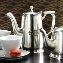 Antique Pewter Coffee Pot - Classics never go out of style. The Antique Pewter Coffee Pot is an example of just that. Serve coffee in a most elegant way in a vessel that boasts a gorgeous design and stunning detail that bring a tablescape together wonderfully.