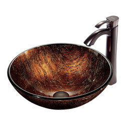 VIGO Industries - VIGO Kenyan Twilight Glass Vessel Sink and Faucet Set in Oil Rubbed Bronze - The VIGO Kenyan Twilight glass vessel sink and faucet set is elegant and luxurious.