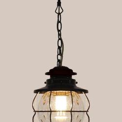 Antique Iron Art and Blown Glass Pendant Lighting in Brown Finish - Antique Iron Art and Blown Glass Pendant Lighting in Brown Finish