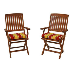 Blazing Needles - Blazing Needles Outdoor Folding Chair Cushion - Set of 6 - 9TT-FA-40-6CH-REO-12 - Shop for Cushions and Pads from Hayneedle.com! Stylize your patio furniture with the Blazing Needles Outdoor Folding Chair Cushion - Set of 6. These cushions are made with a water and face resistant fabric in festive stripes with your choice of available color options. A soft Dacron fill makes them a comfy place to lounge the day away. Handy ties keep them right in place. Main image shown is *Haliwell Multi color option. About Blazing NeedlesBlazing Needles L.P. specializes in the manufacture of cushions pillows and futons. As a sister company of International Caravan Inc. Blazing Needles provides a wide variety of cushions to fit the frames and furniture pieces made by International Caravan. In particular Blazing Needles' production of papasan cushions occupies a unique niche within their industry and sets them apart as a prime supplier for certain retailers. Other services they provide include contract filling sewing and import sourcing. The headquarters of International Caravan and Blazing Needles is located in Fort Worth Texas.