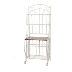 Old Dutch International - Linen White Baker's Rack w/Wine Rack - Add storage space and eye-catching design to your walls with this baker's rack. Made of steel and finished with a forest green powder coat, this fixture boasts two upper ventilated metal shelves, a wood grain-finished counter and a full-depth metal shelf at the base. Don't forget the built-in rack for up to five bottles of wine;