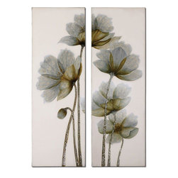 Uttermost - Floral Glow Floral Art Set of 2 - This Frameless, Hand Painted Oil Is On Canvas And Is Stretched And Attached To Wood Stretching Bars. Due To The Handcrafted Nature Of This Artwork, Each Piece May Have Subtle Differences.