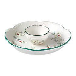Pfaltzgraff - Pfaltzgraff Winterberry Chip and Dip Set - Winterberry set features a pattern to celebrate through the snowy seasonChip and dip set combines a creamy background with holly branches and bright red berriesFormal serveware is sure to impress your guests