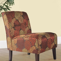 Linon - Coco Accent Chair - Sturdy hardwood frame construction. Some assembly required. Weight Limit: 250 lbs. Button tufted accents. 22.5 in. W x 30 in. D x 33 in. H (20.94 lbs)Classic design meets modern appeal in this superbly comfortable upholstered chair. Substantial, durable padding and a sturdy hardwood frame makes for long lasting utilization. The mix of fabric, button tufting and clean lines adds an air of sophistication and elegance to virtually any home decor. A functional and artistic addition to your living room, bedroom, or den. The rich dark walnut finish frame is complimented by the stunning floral harvest fabric.