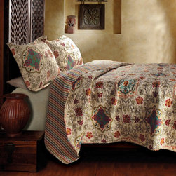 Greenland Home Fashions - Greenland Home Fashions Esprit Spice Quilt Set - GL-1204PMST - Shop for Bedding Sets from Hayneedle.com! The Greenland Home Fashions Esprit Spice Quilt Set features a whimsical bohemian design that pairs well with bedrooms both traditional and modern. Both the cover and the fill of the piece are plush 100% cotton that's soft comfy and thick. The cover features a 2-in-1 reversible pattern with an Art Deco-inspired on one side and an all-over stripe on the reverse. One matching sham included in twin set; two matching pillow shams are included in full queen and king sets (dimensions: 20W x 26L inches). Available in king queen/full and twin sizes (see below for dimensions).Quilt DimensionsKing: 106W x 92L inchesQueen/full: 88W x 92L inchesTwin: 68W x 86L inchesAbout Greenland Home FashionsFor the past 16 years Greenland Home Fashions has been perfecting its own approach to textile fashions. Through constant developments and updates - in traditional country and forward-looking styles the company has become a leading supplier and designer of decorative bedding to retailers nationwide. If you're looking for high quality bedding that not only looks great but is crafted to last consider Greenland.