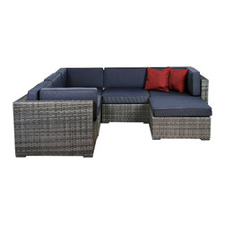 "Lamps Plus - Contemporary Atlantic 6-Piece Bellagio Gray Wicker Seating Set - Atlantic 6-Piece Bellagio Gray Wicker Seating Set. Atlantic gray seating set. Includes three corner pieces two middle pieces and one ottoman. Lovely gray finish. Aluminum and synthetic wicker frame. Includes free Feron Gard Vinyl Preservative for protection. Includes gray cushions. From the Atlantic collection. No assembly required. Corner pieces are 32"" wide 32"" deep and 27"" high. Middle pieces are 32"" wide 28"" deep and 27"" high. Ottoman is 28"" wide 28"" deep and 13"" high.  Atlantic gray seating set.  Includes three corner pieces two middle pieces and one ottoman.   Lovely gray finish.  Aluminum and synthetic wicker frame.  Includes free Feron Gard Vinyl Preservative for protection.  Includes gray cushions.  From the Atlantic collection.  No assembly required.  Corner pieces are 32"" wide 32"" deep and 27"" high.  Middle pieces are 32"" wide 28"" deep and 27"" high.  Ottoman is 28"" wide 28"" deep and 13"" high."