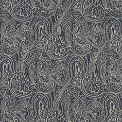 Navy Blue, Traditional Abstract Paisley Woven Upholstery Fabric By The Yard - This material is an upholstery grade jacquard fabric. It is lightweight, but is rated heavy duty and upholstery grade.