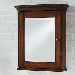 """Mason Medicine Cabinet, Wall-Mount, Rustic Mahogany finish - Crafted with the warm look of country house furniture, our Mason cabinet stores bath essentials with rustic charm. 24.5"""" wide x 7"""" deep x 30"""" high Expertly crafted of solid poplar. Features three adjustable tempered-glass shelves. Beveled mirror on door. Mounts to open left or right. Hand finished in Rustic Mahogany and sealed with protective lacquer for moisture resistance. Professional installation recommended. View our {{link path='pages/popups/fb-bath.html' class='popup' width='480' height='300'}}Furniture Brochure{{/link}}."""