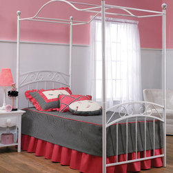 "Hillsdale Furniture - Hillsdale Emily Full Duo Panel Canopy Bed - A pretty design that is perfect for the little girls room or guest bedroom. Powder coat finish in refrigerator white. Fully welded construction featuring heavy gauge tubing with 1 1/2"" round legs and 3/4"" square top rail."